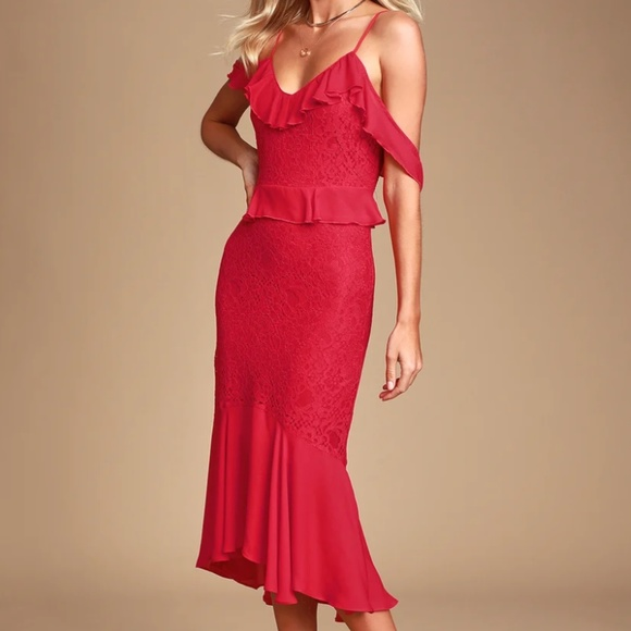 Lulu's Dresses & Skirts - Dance of Romance Red Lace Cold-Shoulder Midi Dress